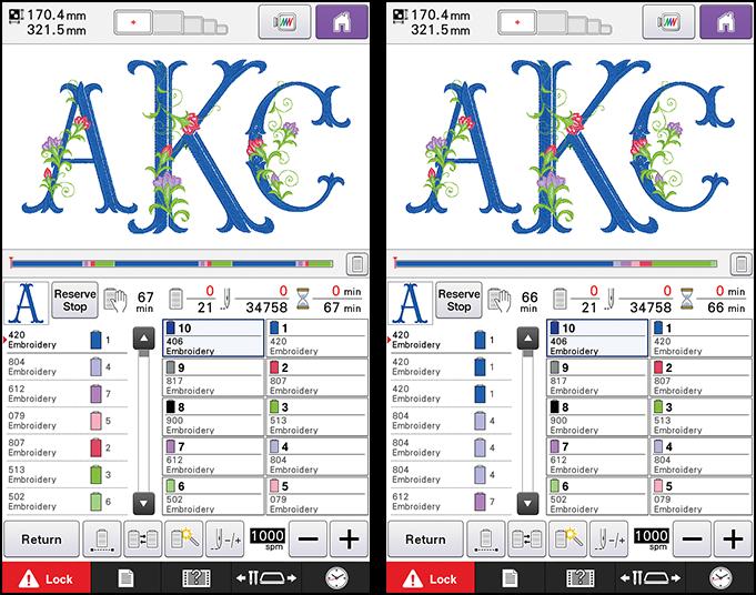 Экран редактирования дизайна вышивки
